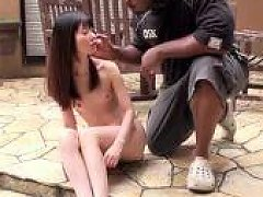 Tiny Japanese Girl Gags On Big Black Cock Outdoors