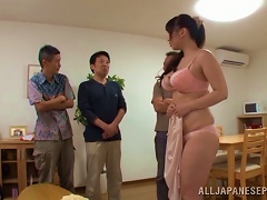 Busty Japanese Floozy Receives Facials From Numerous Men